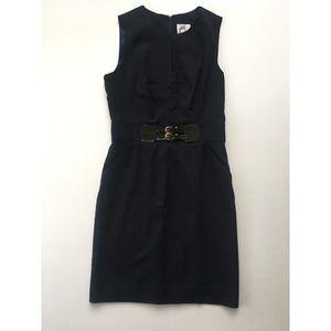 Milly 6 Navy Blue Wool Career Dress Leather Belt